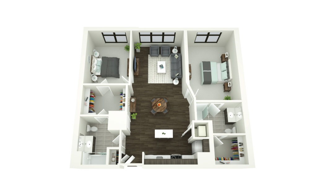 Dining Room, Living Area, And Kitchen View At Porter Street Apartments