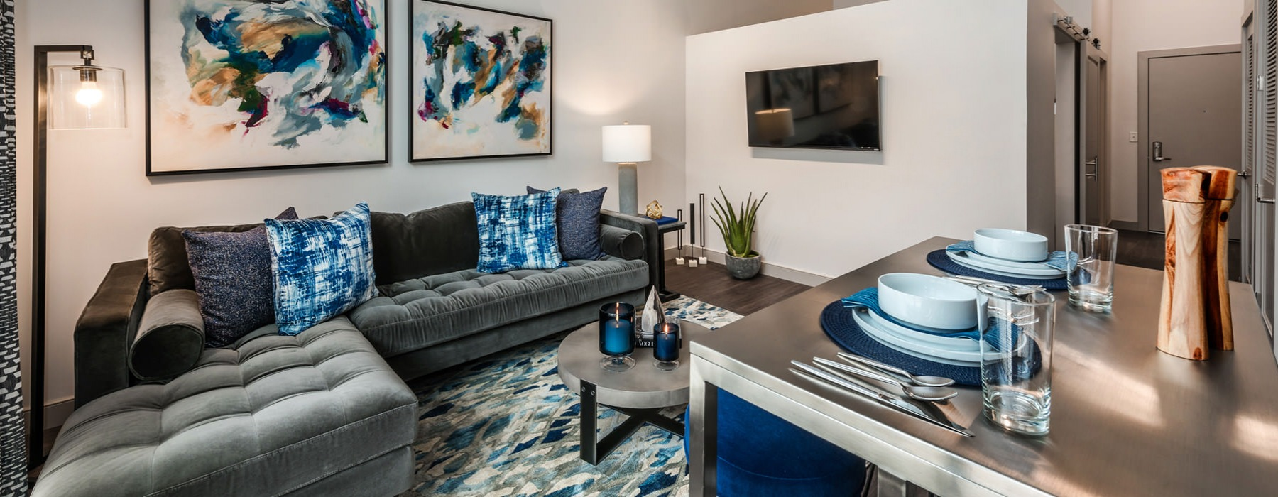 Living Area At Porter Street Apartments